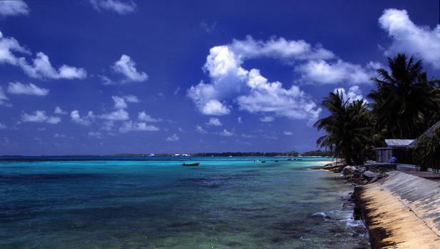 Playa de Funafuti, en Tuvalu