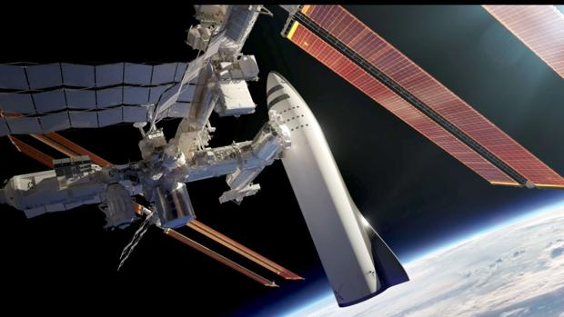 Representación artística de un BFR, un cohete para misiones interplanetarias de larga duración