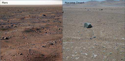 Superficies de Marte y el desierto de Atacama