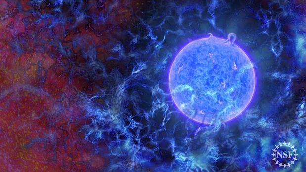 Las primeras estrellas azules masivas del universo incrustadas en filamentos gaseosos, con el fondo de microondas cósmico apenas visible en los bordes.