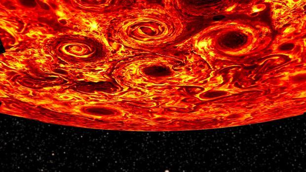 Imágenes obtenidas en el infrarrojo por Juno en el polo sur de Júpiter. Representan la salida de calor: las partes más oscuras se corresponden con nubes más gruesas