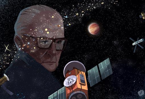 Imagen de Arthur C. Clarke delante de un cinturón de satélites y máquinas geoestacionarias