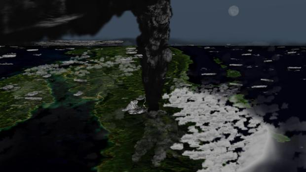 La erupción del supervolcán Toba, como se habría visto desde el espacio