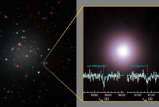 NGC 1052-DF2 es una galaxia muy difusa. La luz de cúmulos (a la derecha) que la forman, han permitido estimar cuánta materia oscura debería tener. El resultado no concuerda con lo previsto.