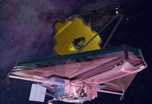 Representación del JWST, ya desplegado. El escudo rosa frena la radiación solar para que el telescopio, en amarillo, opere a temperaturas cercanas a los -220ºC