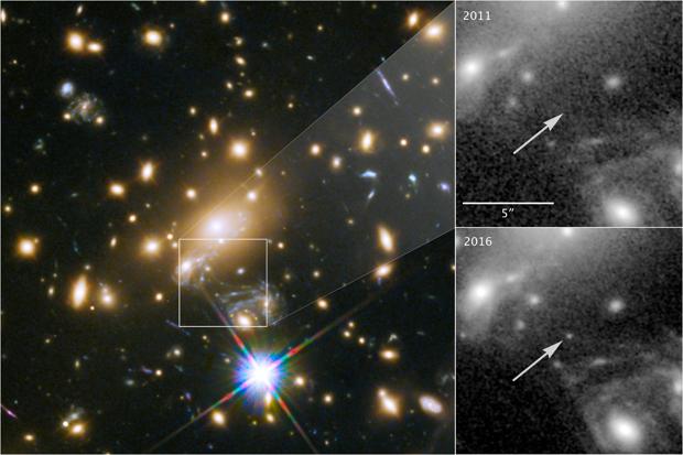 Icarus es la estrella individual más lejana jamás vista. Solo es visible porque está siendo ampliada por la gravedad de un cúmulo de galaxias masivo, ubicado a unos 5.000 millones de años luz de la Tierra (izquierda). Los paneles de la derecha muestran la vista en 2011, sin Icarus visible, en comparación con el brillo de la estrella en 2016