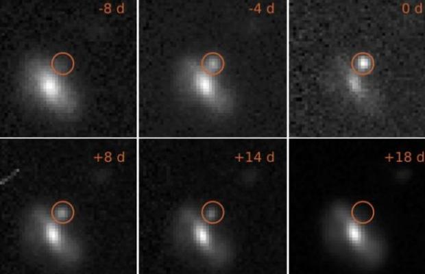 """Imágenes de una de las 72 inexplicables explosiones de estrellas detectadas por los astrónomos. A diferencia de una supernova """"normal"""", en este caso el brillo apenas duró 18 días"""