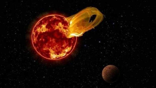 Recreación artística de una llamarada de Próxima Centauri junto a Próxima b