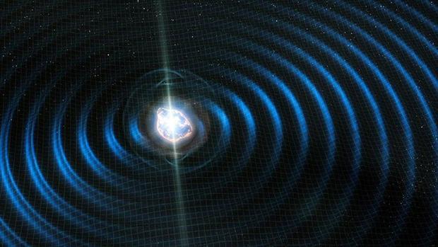 La ilustración muestra la luz y las ondas gravitacionales emitidas por la colisión de dos estrellas de neutrones, detectada en 2017