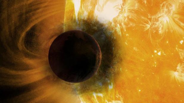 La ilustración muestra cómo podría verse este exoplaneta del tamaño de Júpiter y con una enorme cola de helio
