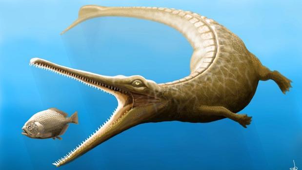 Representación de «M. fitosi». Tenía patas, una aleta caudal y dientes poderosos para capturar presas
