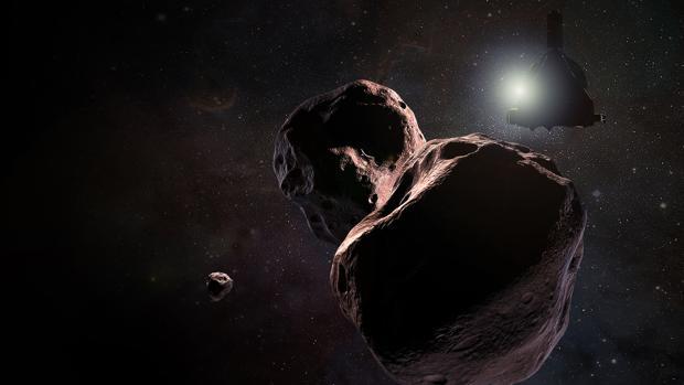 La impresión del artista de la nave espacial New Horizons de la NASA se encontró con el 2014 MU69, un objeto del cinturón de Kuiper que orbita mil millones de millas (1.600 millones de kilómetros) más allá de Plutón, el 1 de enero de 2019.