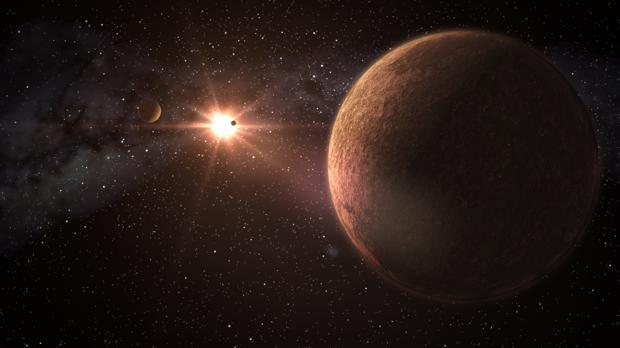 Representación de uno de los sistemas planetarios descubiertos, con tres planetas de tamaño similar a la Tierra. El otro tiene dos súpertierras