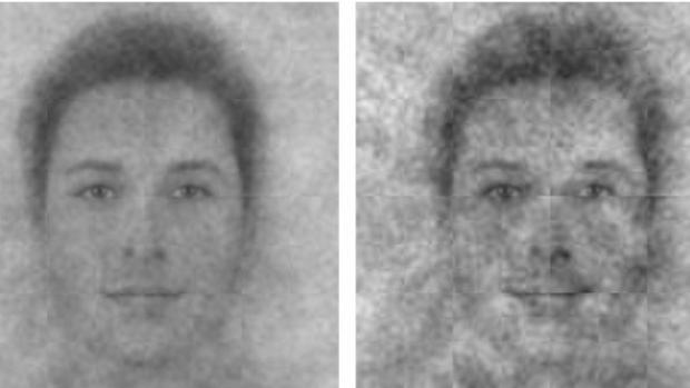 El rostro de Dios, según los participantes jóvenes (izquierda) y los mayores (derecha)