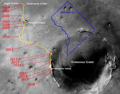 aLa odisea de la Opportunity. Ha recorrido 45,10 kilómetros y ha hecho múltiples descubrimientos en 15 años de misión