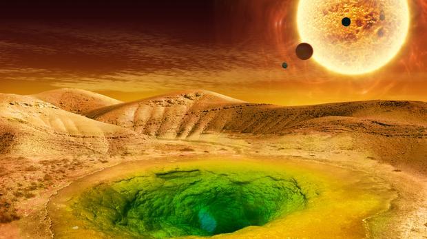 La ilustración muestra cómo podría ser la vida en un planeta lejano