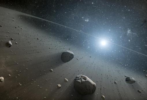 Representación de un cinturón de asteroides en torno a una estrella