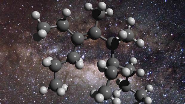 Una molécula de grasa frente a un fondo del centro de la Vía Láctea