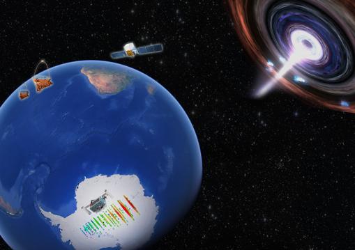 En esta representación artística, se muestra un poderoso blazar como origen del neutrino IceCube IC170922. El observatorio Fermi en el espacio y los telescopios MAGIC en la Tierra detectaron rayos gamma de alta energía de la misma fuente