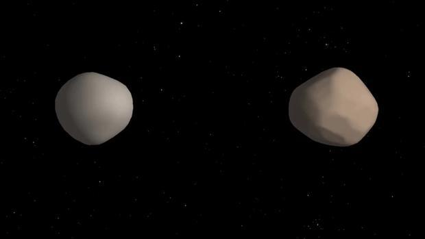 Recreación de cómo puede ser el asteroide binario 2017 YE5