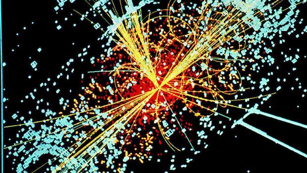 Simulación de un choque de partículas en el LHC