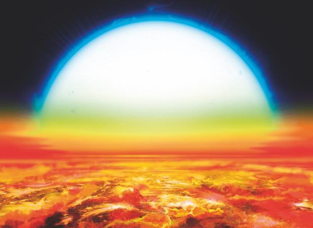 Representación de la superficie de KELT-9b, un exoplaneta muy cercano a su estrella, KELT-9