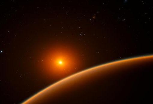 Ilustración de un planeta junto a una enana roja