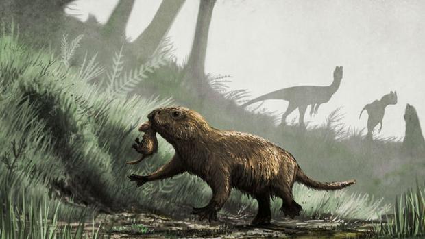 Recreación de un Kayentatherium con una cría