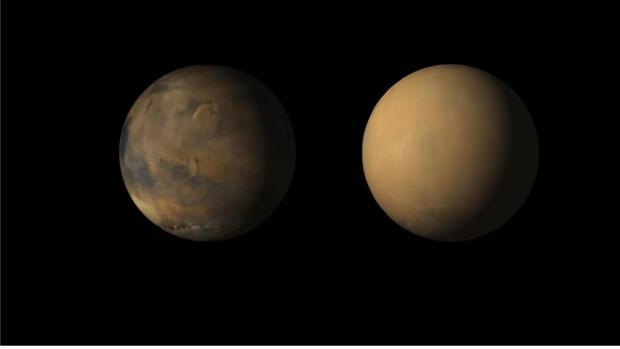 Marte, visto por la Mars Reconnaisance Orbiter, durante y después de la enorme tormenta que envolvió todo el planeta en una nube de polvo