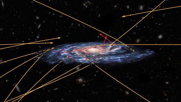La imagen muestra la posición y dirección de las 20 estrellas de hipervelocidad detectadas por los astrónomos. Las flechas rojas corresponden a estrellas expulsadas de nuestra galaxia. Las naranjas indican estrellas que se dirigen hacia su interior