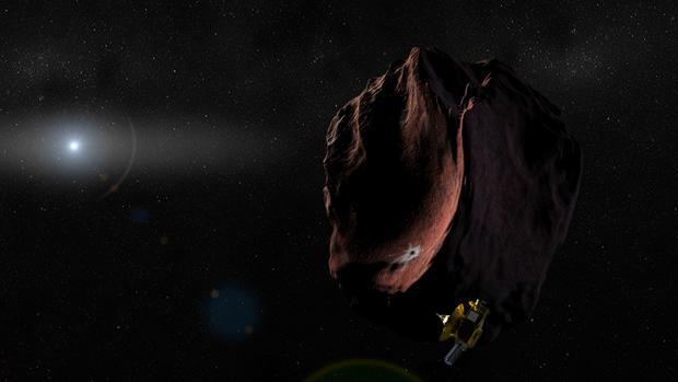 Representación de la sonda New Horizons pasando a poca distancia de Ultima Thule