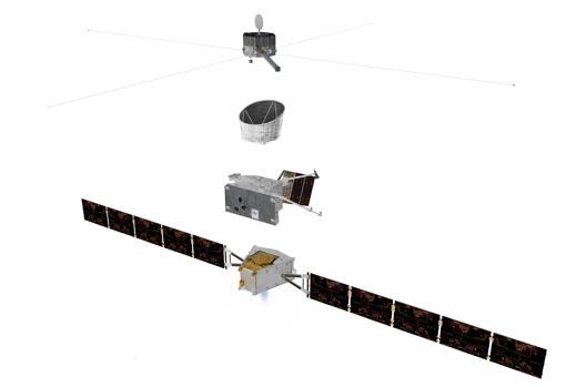 Los distintos módulos de la nave BepiColombo. De abajo a arriba: módulo de transferencia, orbitador europeo, escudo protector y orbitador japonés