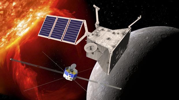 Representación de los dos protagonistas de la misión: un orbitador europeo (MPO), arriba, y otro japonés (MMO), abajo