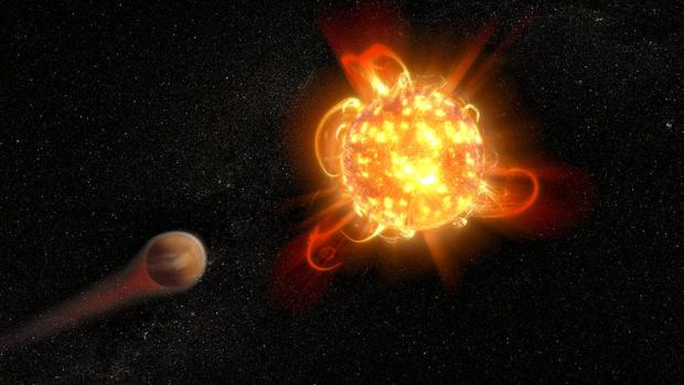 En la representación artística, una enana roja joven y activa (derecha) despoja de su atmósfera de un planeta en órbita (izquierda)