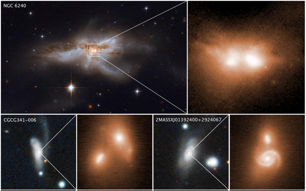 Etapa final de la fusión de varias galaxias. En sus núcleos hay parejas de agujeros negros supermasivos en crecimiento que se fundirán en uno solo