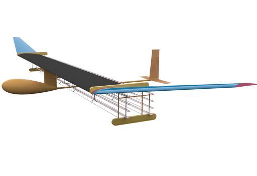 Imagen esquemática del avión, donde se pueden apreciar los cables debajo de las alas