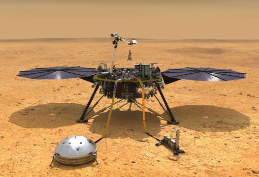 InSight después de desplegar sus instrumentos en la superficie marciana