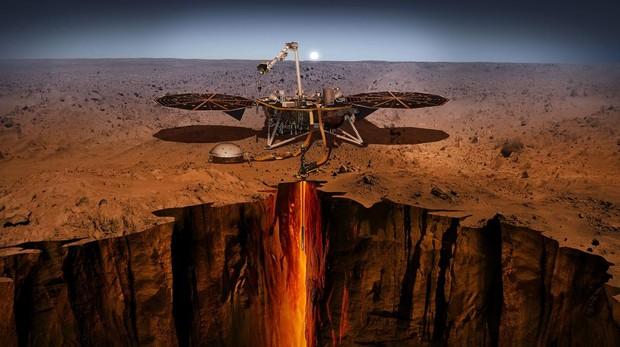 Representación artística del «Insight» desplegado sobre la tierra de Marte
