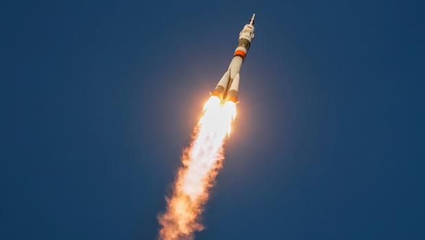 Lanzamiento de la Soyuz MS-11 desde Baikonur, en Kazajstán