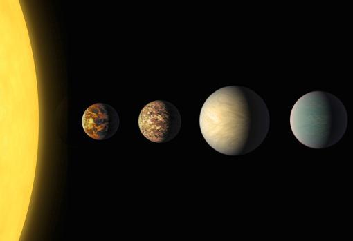 Reprsentación artística del sistema solar hallado en la estrella K2-187