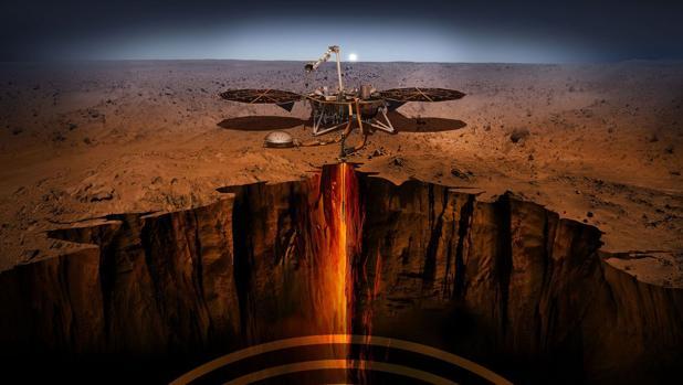 La ilustración muestra cómo trabajará la sonda Mars Insight, de la NASA, recién aterrizada en Marte
