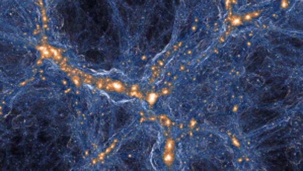 Simulación de galaxias y gases en el universo. Dentro del gas en los filamentos (azules) que conectan las galaxias (anaranjadas) se esconden bolsas raras de gas prístino, vestigios del Big Bang que de alguna manera han quedado huérfanos de las explosivas y contaminantes muertes de estrellas, que se ven aquí como ondas de choque circulares alrededor de puntos naranjas