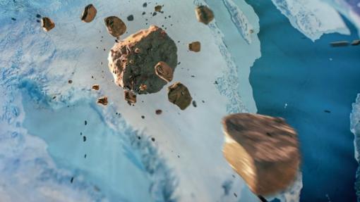 Recreación del impacto del asteroide en Groenlandia