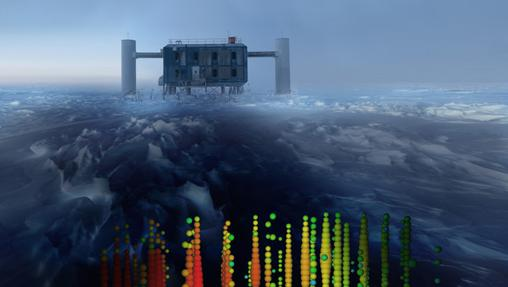 Representación del detector de neutrions IceCube, en el polo sur