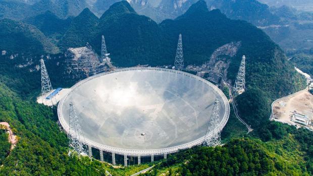 El Radio Telescopio de Apertura esférica de 500 metros, en China, en la imagen, comenzará a funcionar al 100%