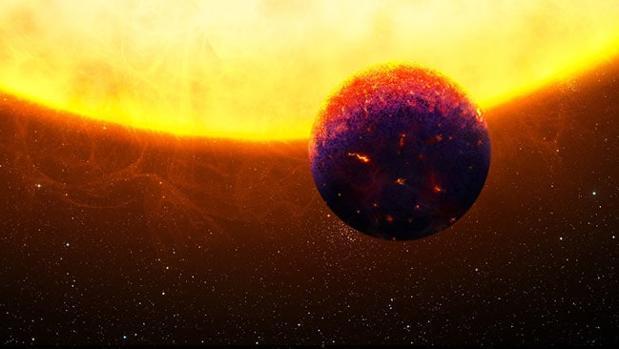 Representación de HD219134 b, un exoplaneta supuestamente cubierto por zafiros y rubíes