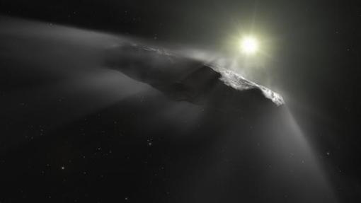 Representación de Oumuamua, el primer objeto interestelar descubierto