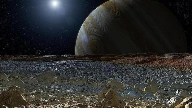 Recreación artística de la luna Europa