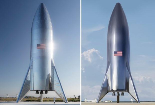 Aspecto real del «Starship Hopper», a la izquierda, y representación artística, a la derecha, publicada con anterioridad