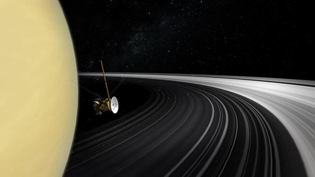 Recreación de Cassini sobre una foto real de Saturno y sus anillos